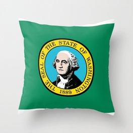 Flag of Washington State Wave Throw Pillow