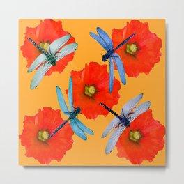 CLUSTER OF BLUE DRAGONFLIES RED HOLLYHOCK FLOWERS Metal Print