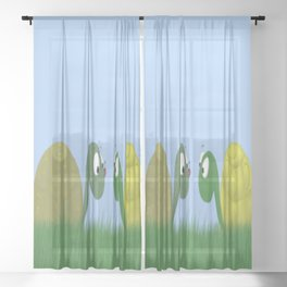 Ellie and Ollie, and Their New Friend Sheer Curtain