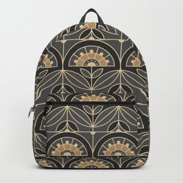 Art Deco Tile Floral (gray and sand) Backpack