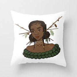Autumn Oak Goddess • Black Girl Magic in Fall Colors Throw Pillow