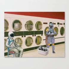 In the Laundromat with Boba Fett Canvas Print