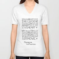 florence V-neck T-shirts featuring Howl- Florence by Brittain Rhea