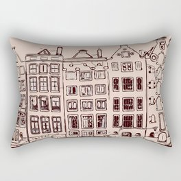 Canal house in Amsterdam, The Netherlands Rectangular Pillow