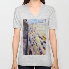 Edvard Munch - Rivoli Street - Digital Remastered Edition Unisex V-Neck