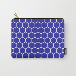 Honeycomb (White & Navy Blue Pattern) Carry-All Pouch