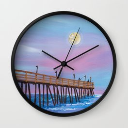 full moon over Rodanthe Pier Wall Clock
