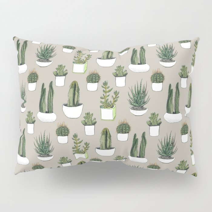 Watercolour cacti & succulents - Beige Pillow Sham
