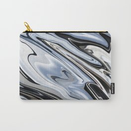 Grey and Black Metal Marbling Effect Abstract Carry-All Pouch