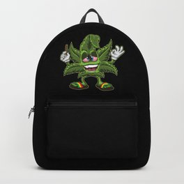 Stoned Cannabis Leaf - Weed Smoking Cartoon Backpack