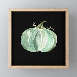 Blue Watercolor Pumpkin on Black Framed Mini Art Print