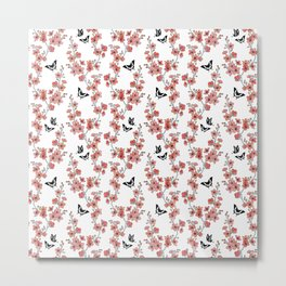Sakura butterflies in peach pink Metal Print