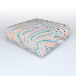Palm Leaves Coral Outdoor Floor Cushion