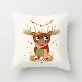 Caribou automnale Throw Pillow