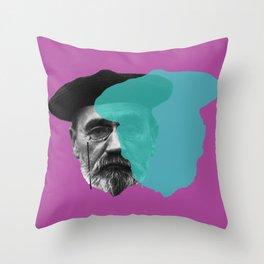 Emile Zola portrait purple blue Throw Pillow