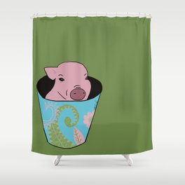 Chris P Bacon Piglet In A Bucket Shower Curtain