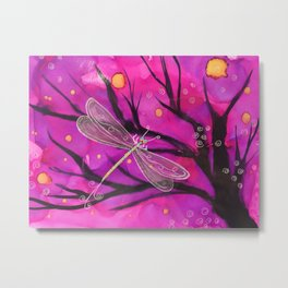 Happy Little Delicate Dragonfly Metal Print
