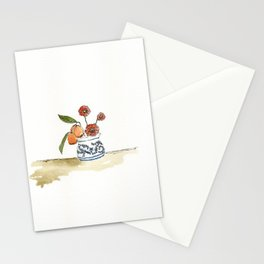 Kumquats, Poppies, and Blue and White Pot Stationery Cards