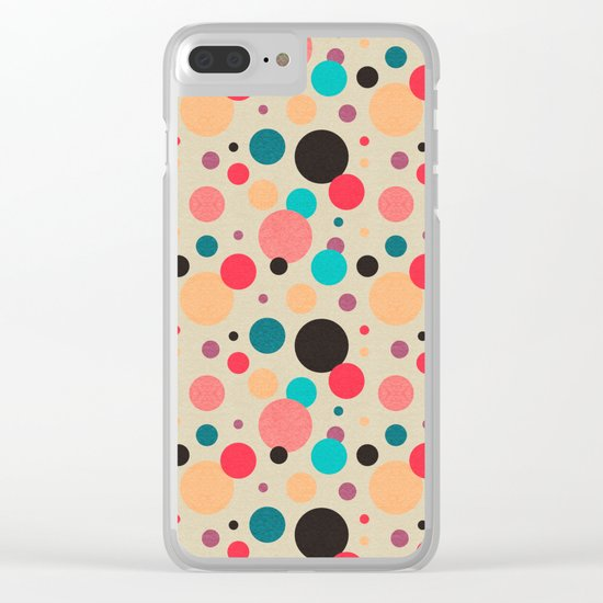 Multicolored Geometric Polka Dot Pattern Clear iPhone Case