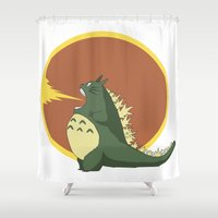 kaiju Shower Curtains featuring Most Feared Kaiju by Madison Apple