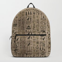 Egyptian hieroglyphs on wooden texture Backpack