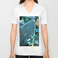 swimming V-neck T-shirts featuring Swimming by Robin Curtiss