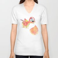 birdy V-neck T-shirts featuring Birdy by la belette rose
