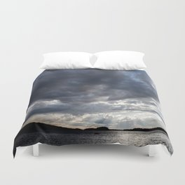 Dark Clouds Coming Over Lake In Scandinavia Duvet Cover