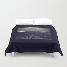 Winter morning, view of a city, sea and mountains Duvet Cover