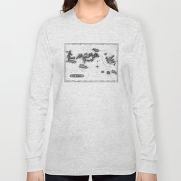 Vintage Map of The Virgin Islands (1823) BW Long Sleeve T-shirt
