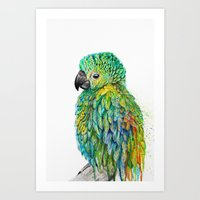 parrot Art Prints featuring Parrot by Nika Akin