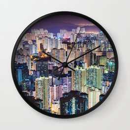 Kam Shan Country Park City-scape, Hong Kong nighttime portrait #1 Wall Clock