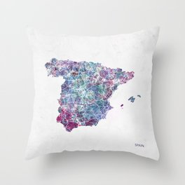 Spain map Landscape Throw Pillow