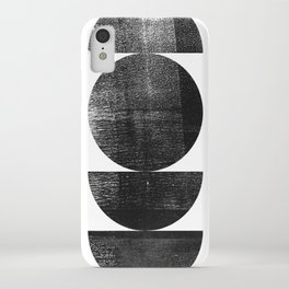 Black and White Mid Century Modern Circles Abstract iPhone Case