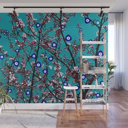 Cherry Blossoms Evil Eyes Wall Mural