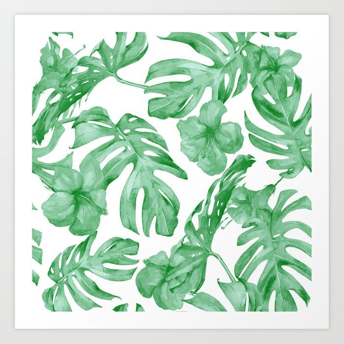 Tropical Island Leaves Green on White Art Print