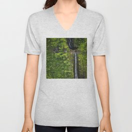 Just Beyond the No Trespassing Sign - Crooked Tropical Waterfall Unisex V-Neck