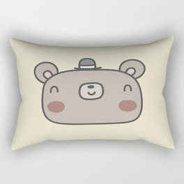 Friendly bear with fancy hat Rectangular Pillow