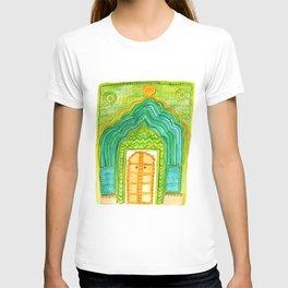 Jaipur Green Peacock Door Watercolor City Palace Rajasthan India T-shirt
