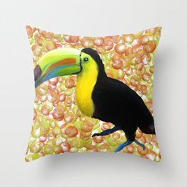 Tropical Toucan - Orange Bubbles Throw Pillow