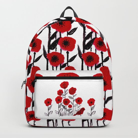 Tall poppies and red bird Backpack