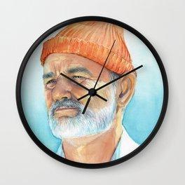 Steve Zissou Art Life Aquatic Bill Murray Watercolor Portrait Wall Clock
