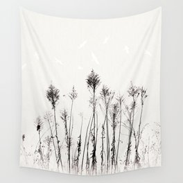 Dried Tall Plants and Flying White Birds Wall Tapestry
