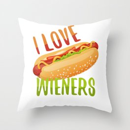 I Love Wieners Grilling Hotdog Camping Funny Throw Pillow
