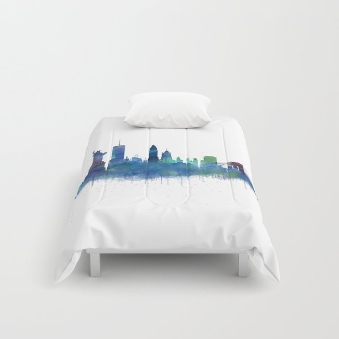 NY New York City Skyline NYC Watercolor art Comforters