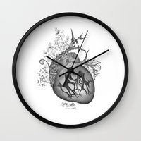 radiohead Wall Clocks featuring RADIOHEAD HEART by Estelle Couraye