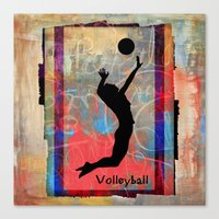 volleyball Canvas Prints featuring Volleyball Girl by beeczarcardsandgifts