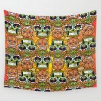 sugar skulls Wall Tapestries featuring Sugar Skulls Pattern by Spooky Dooky
