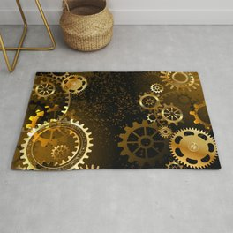Steampunk background with gears Rug