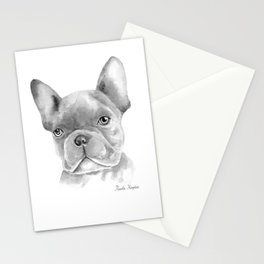 WATERCOLOR FRENCH BULLDOG / FRENCHIE IN BLACK Stationery Cards